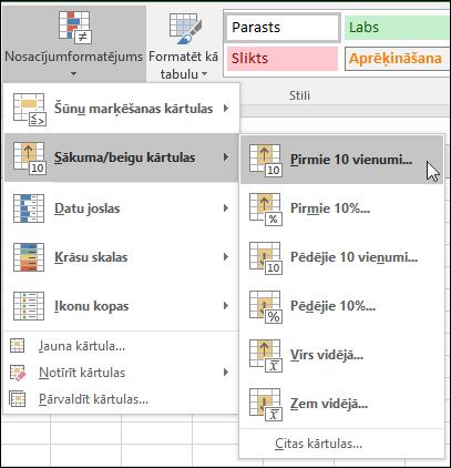 Nosacījumformatēšanas pirmās 10 formatēšanas opcijas