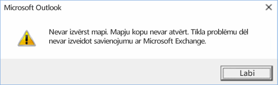 Outlook2016 kļūda— nevar izvērst mapi