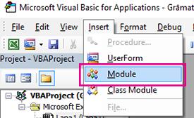 Izvēlnē Ievietot noklikšķiniet uz modulis.