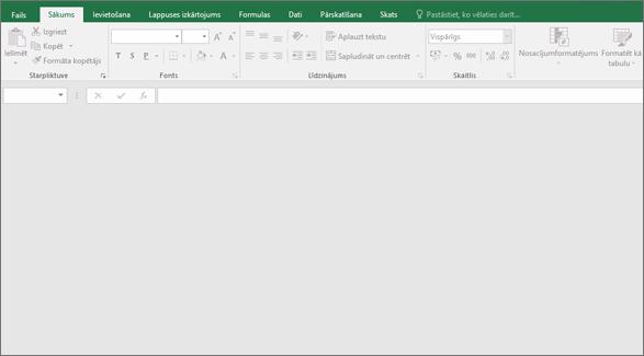 Tukšā Excel loga ar pogām nepieejami; Nav atvērta darbgrāmata.