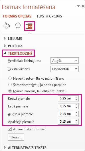 Tekstlodziņa opcijas rūtī Formatēt formu