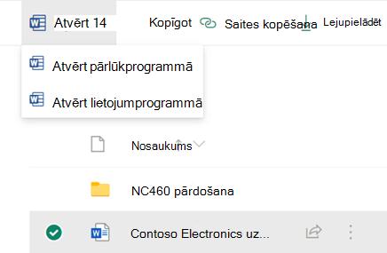 Varat atvērt failu pārlūkprogrammā vai datora Office lietojumprogrammā.