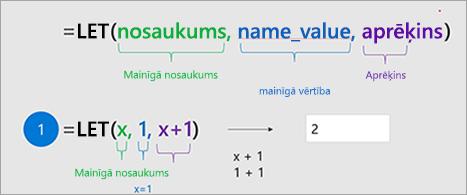 Parāda funkciju LET Excel