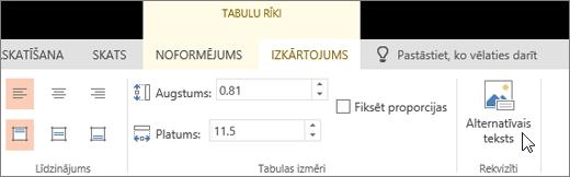 Ekrānuzņēmumā redzama tabulas rīku cilne Izkārtojums ar kursoru uz opciju Alternatīvais teksts.