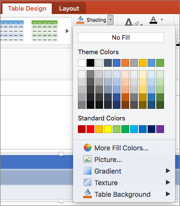 Ekrānuzņēmums tiek rādīta cilne tabulas noformējuma kur ēnojumu nolaižamā saraksta bultiņas atlasīts Rādīt pieejamās opcijas, tostarp bez aizpildījuma, dizaina krāsas, standarta krāsas, citas aizpildījuma krāsas, attēlu, gradientu, faktūru un tabulas fons.