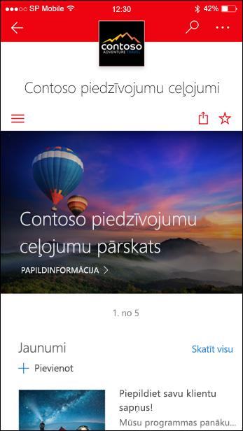 SharePoint saziņas vietne mobilajā ierīcē
