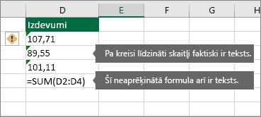 Šūnas ar skaitļiem, kas saglabāti kā teksts, un zaļu trijstūri