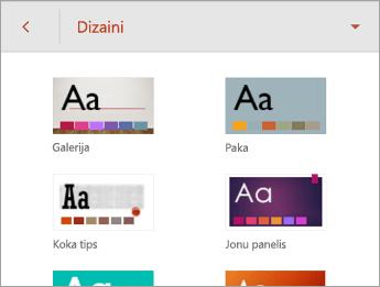 Komanda Dizaini ar dizainu opcijām