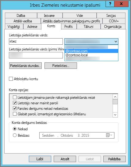 Jauna UPN sufiksa pievienošana lietotājam
