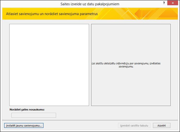 Tīmekļa pakalpojuma datu savienojuma instalēšana