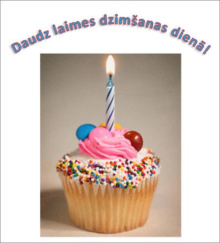 WordArt piemērs ar uzrakstu Daudz laimes dzimšanas dienā un attēlu