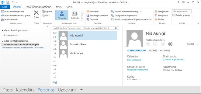 Ekrānuzņēmums, kurā redzamas jūsu grupas vietnes kontaktpersonas, kad tās tiek rādītas programmā Outlook
