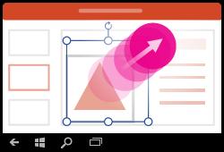 Programmas PowerPoint darbam ar Windows Mobile žests— formas izmēru maiņa