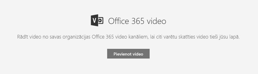Ekrānuzņēmums ar Office365 video pievienošanas dialoglodziņu pakalpojumā SharePoint.