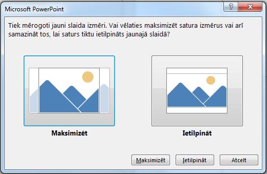 Ja izvēlaties maksimizēt, daļa satura var atrasties ārpus drukas piemalēm, kā redzams attēlā pa kreisi.