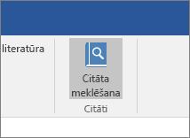 Ekrānuzņēmumā redzama Office lente ar pievienojumprogrammā Citations iezīmētu komandu Meklēt citātus.