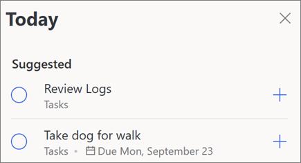 Šodienas ieteikumi par manu dienu programmā Microsoft to-do