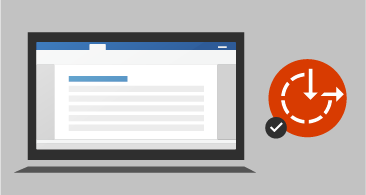 Datora ekrāns ar dokumentu pa kreisi un pieejamības vizuālo materiālu ar kontrolatzīmi pa labi