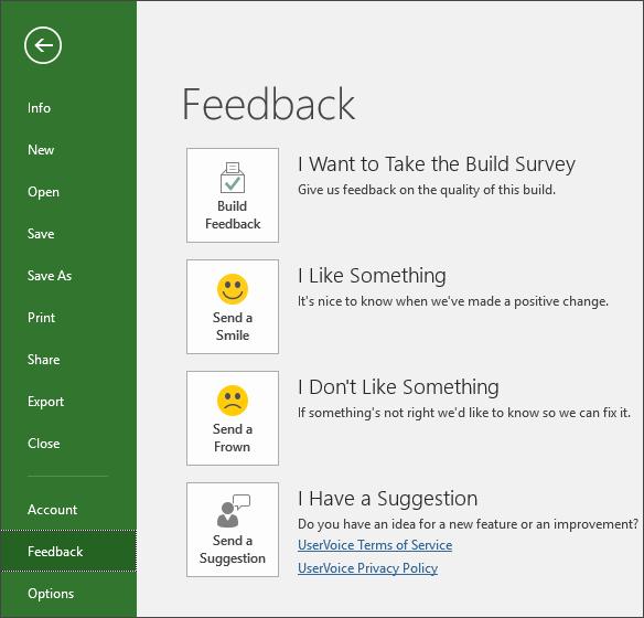 Noklikšķiniet uz Fails > Atsauksmes, lai sniegtu komentārus vai ieteikumus par Microsoft Project