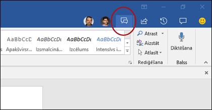 Tērzēšanas ikona programmā Word