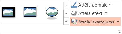 Tiek parādīta poga attēlu izkārtojumu, cilnē Formatēšana