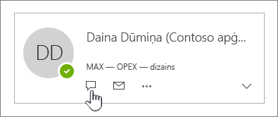 Kontaktpersonas vizītkarte ar izceltu tūlītējās ziņojumapmaiņas ikonu
