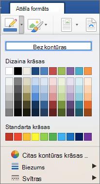 Tiek parādīts attēla apmales kontūras krāsu.