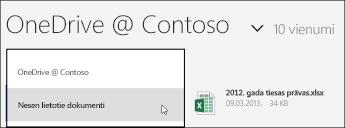 OneDrive darbam skata izvēlne