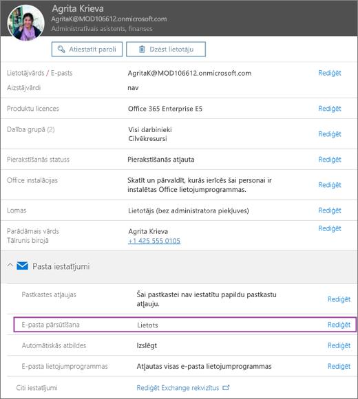 Attēlā redzams lietotāja profila lapu ar nosaukumu Alija Bellew ar e-pastu lietotāju pāradresēšanas iestatīšana Applied un pieejamo opciju rediģēt.