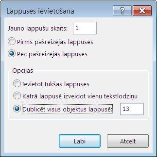 Dialoglodziņš Publisher lappušu ievietošanai