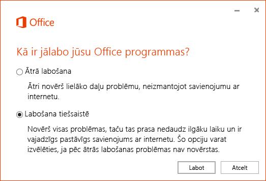 Office labošanas dialoglodziņš, veicot OneDrive darbam sinhronizācijas programmas labošanu