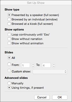 Slaidrādes veida un citu opciju iestatīšana pirms slaidrādes izplatīšanas