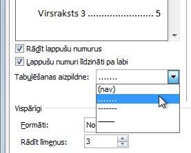 Punktētas līnijas opcija satura rādītāja dialoglodziņā