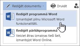 No SharePoint bibliotēkas atvērts Word dokuments, kurā iezīmēts vienums Rediģēt programmā Word