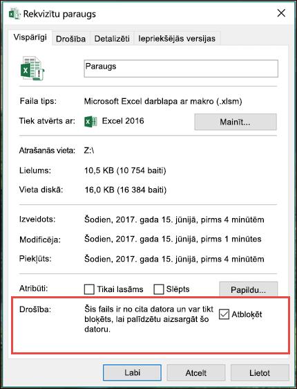 Ar peles labo pogu noklikšķiniet uz faila programmā Windows Explorer, lai atbloķētu makro.