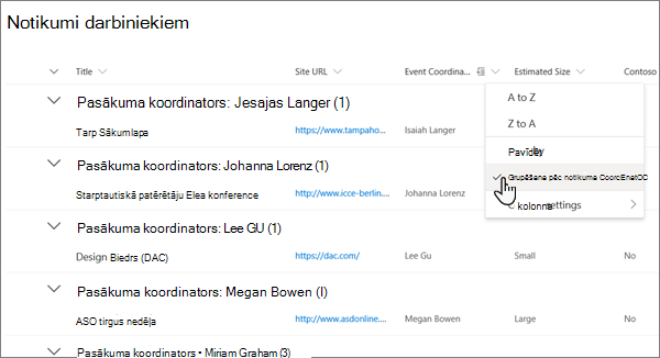 Saraksta skata izvēlnē kolonnas galvene grupa pēc opcijas ir iespējota mūsdienīgā SharePoint vidē