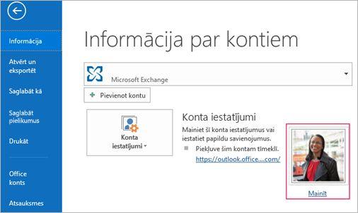 Fotoattēlu saites mainīšana programmā Outlook
