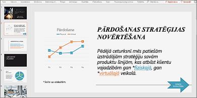 Prezentācija ar slaidu, kurā ir diagramma un teksts ar divām hipersaitēm