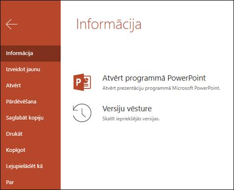Office Online cilne informācija, kurā redzams versijas vēstures vienums.