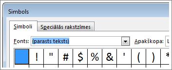 lodziņš simbols programmā word