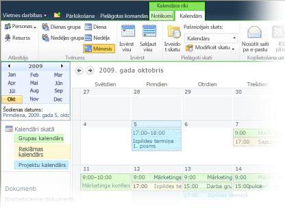 Izmantot vairākus kalendārus pakalpojumā SharePoint