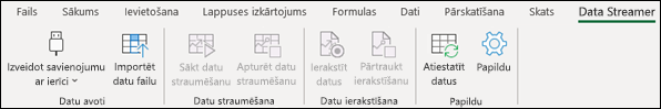 Pievienojumprogramma Data Streamer Excel lentes izvēlnē
