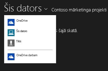 Citā lietojumprogrammā izvēlieties OneDrive darbam