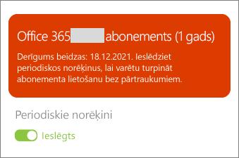 Pārskatiet informāciju par savu Office 365 abonementu