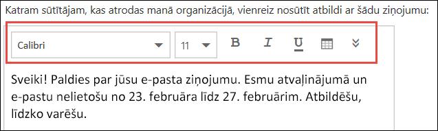 Outlook tīmeklī automātiskās atbildes ziņojums