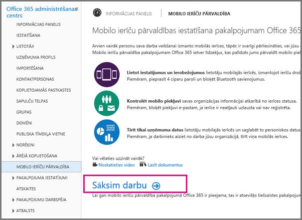 Mobilo ierīču pārvaldības iestatīšana pakalpojumam Office 365