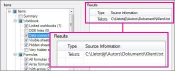 Atskaitē ietvertie datu savienojumu dati
