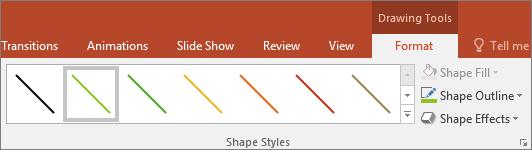 Parāda līniju ātro stilu izvēli sistēmā Office