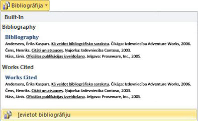Click Insert Bibliography