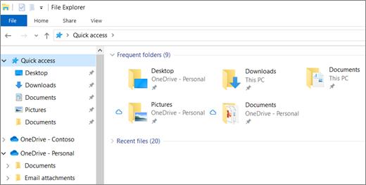 Failu pārlūks operētājsistēmā Windows 10 ar darbvirsmas, dokumentu un attēlu mapēm pakalpojumā OneDrive